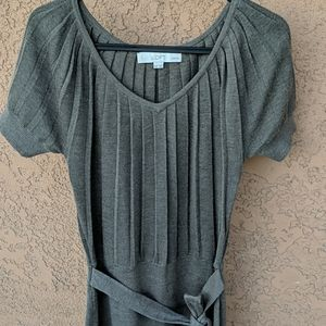 LOFT V-neck sweater dress with built in town belt